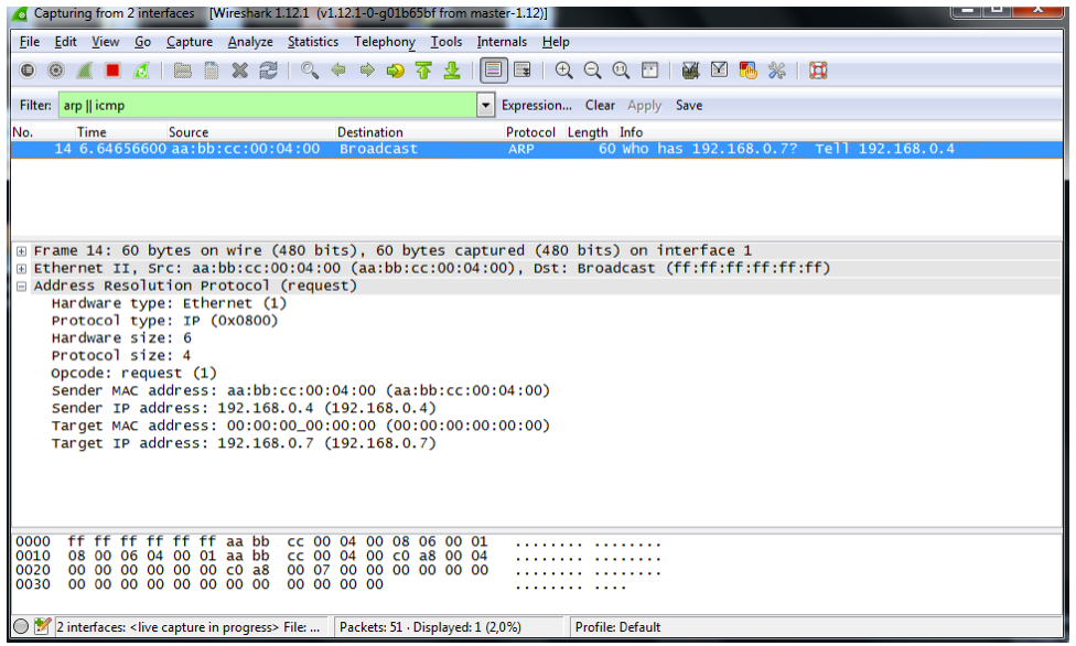 Capture Wireshark pendant le ping