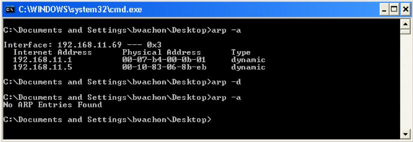 retour de la commande arp -a depuis une fenêtre DOS