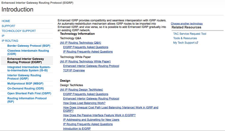 Page Technology Cisco.com sur EIGRP