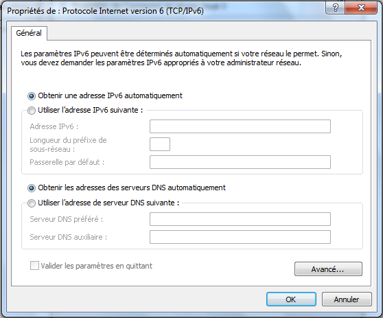 Configuration automatique IPv6 sous Windows 7