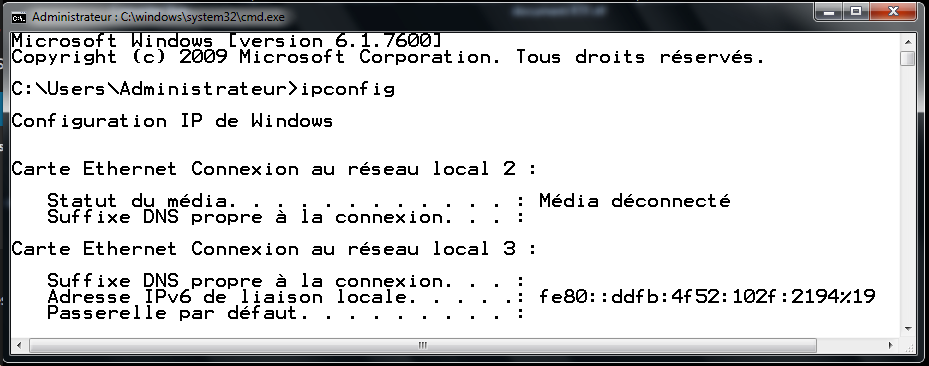 Adresse IPv6 auto-attribuée par Windows 7