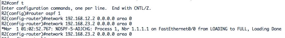 Configuration OSPF pour R2