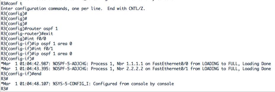 Configuration OSPF pour R3