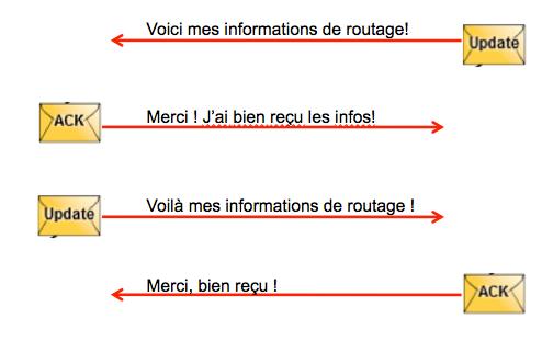 L'échange initial de messages Update/Ack après découverte du voisin.