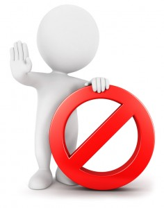 3d white people with forbidden sign